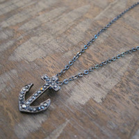 Rhinestone Anchor Necklace - Tiny Thin Hematite Anchor Necklace