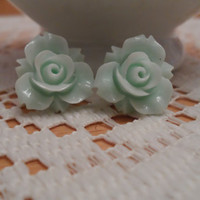 Turquoise Resin Flower Cabochon Earring, Posts for Sensitive Ears,hypoallergenic earring stud
