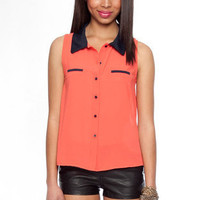 Contrast Collar Sleeveless Button Down Top in Coral