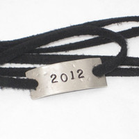 YEAR Wrap Bracelet - Choose Your Year - Graduation Jewelry - 2013 Jewelry -  Nickel Silver Pendant on 3 ft of Micro Fiber Suede