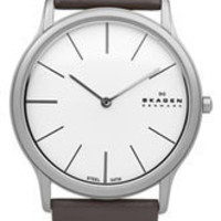 Skagen 'Leather' Slim Round Watch | Nordstrom