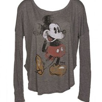 Ladies Charcoal Mickey Mouse Dipped Hem Long Sleeve Oversized T-Shirt From Junk Food : TruffleShuffle.com