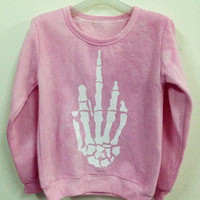Pink Middle Finger Skeleton Hand Sweater