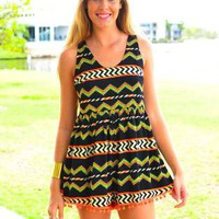 Aztec Print Sleeveless Playsuit with Mesh Back Detail
