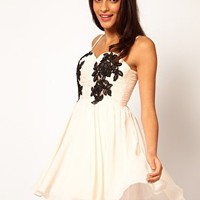 Opulence England Chiffon Bandeau Lace Trim Dress at asos.com
