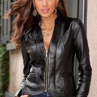 Seamed leather jacket - Boston Proper