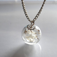 Dandelion Necklace Dandelion Seeds Make A Wish Glass Bead Orb Silver Necklace Botanical  Globe Beadwork