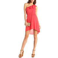 Ruffled One Shoulder Hi-Low Dress: Charlotte Russe