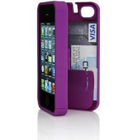 Purple Case for iPhone 4/4S with built-in storage space for credit cards/ID/money by EYN (Everything You Need)