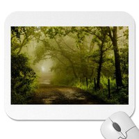 Misty Woodland Lane Mousepads from Zazzle.com