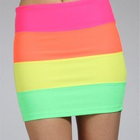 Neon Rainbow Colorblock Banded Mini Skirt