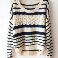 Loose Hollow Stripe Sweater