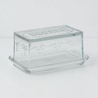 Etched Glass Butter Dish