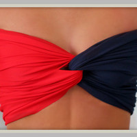 Red &amp; Navy Bandeau Top  Spandex Bandeau  Bandeau by Sidewalk616