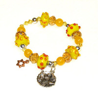 Yellow Beaded Passover Charm Bracelet