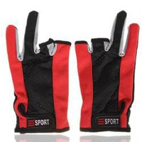 SPORT Unique Design Fishing Gloves with Part of Fingerless -Red with Black China Wholesale - ahappydeal.com
