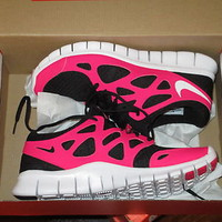 NIKE WOMENS FREE RUN +2 RUNNING SHOES BLACK WHITE CHERRY SIZE 6.5 9 10