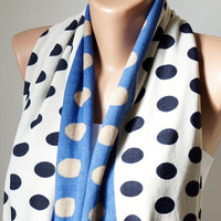 Infinity Scarf loop big dotted handmade from blue, dark blue and white jersey linen