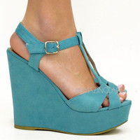 Teal Blue Platform Wedge Sandals