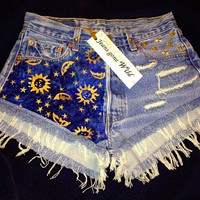 High waisted destroyed studded denim super frayed Cosmic shorts size Sm/Med/Lg.