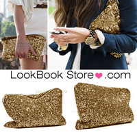 Lookbookstore Women Metallic All Over Gold Black Sequins High Shine Bling Clutch Handbag Purse @lookbookstore #lookbookstore