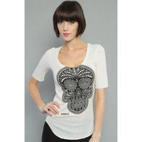 Obey The Day Of The Dead Ballet Tee in Nude,T-shirts for Women
