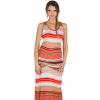 Young, Fabulous and Broke Hamptons Orange Cabana Maxi Dress