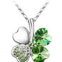 Olive Swarovski Elements Crystal Four Leaf Clover Pendant Necklace 47CM--9034G: Jewelry: Amazon.com