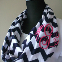 Monogrammed chevron infinity scarf, navy and white knit jersey, custom monogram or greek letters.
