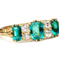Edwardian Green: Emerald Diamond Ring - The Three Graces