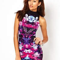 Motel Zabby Dress With High Neck and Digital Print at asos.com