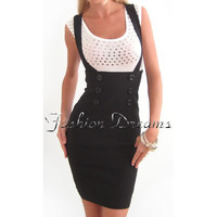 BLACK SEXY HIGH WAIST CAREER SUSPENDERS PENCIL SKIRT KNEE LENGTH CORSET FITTED