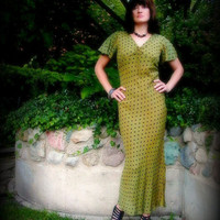 Vintage Green Dress 30s 80s Bias Cut Olive with Black by FireGrog