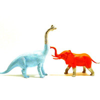 painted animals, graffiti, animal figurines, dinosaur, elephant, bright, pop art, neon decor, kids decor, metallic silver