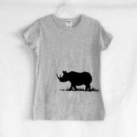Black Rhinocerous Screenprinted Tee Shirt Black Ink by TeezLoueez