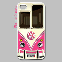 Cool Funny cute Retro Pink Volkswagen VW mini bus vans iphone 5 case