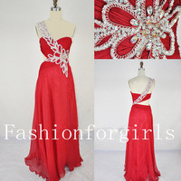 2013 One Shoulder Sweetheart with Beading Chiffon Long Red Prom Dresses from fashionforgirls