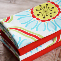Cotton Napkins Big Floral with Red Set of by toocutecustomcrafts
