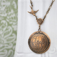 ONE  WORLD antique brass globe  locket necklace by plasticouture