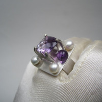 Exclusive Artisan OOAK Amethyst and Pearl Sterling Ring