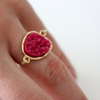 Druzy hot pink ring 14kt gold filled - custom size