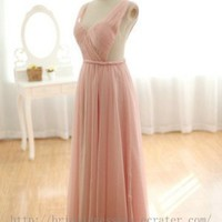Sexy Low back Pink Wedding Bridesmaid Dress Evening Prom Party Dress