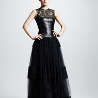 Leather & Lace Gown