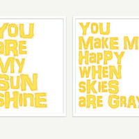 You Are My Sunshine Prints 2 Poster Set Typography by colorbee