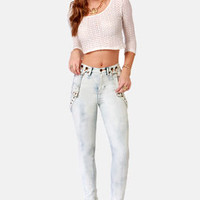 Dittos Santana Acid Washed High-Rise Suspender Jeans
