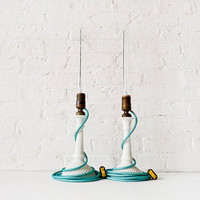 Lighting - Pair of Vintage White Milk Glass Diamond Cut Candlestick Lamps w/ Agua Net Color Cord