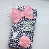 Baby Pink &amp; Black Barbie Nicki Minaj Sparkly Bling iPhone 4/4s  Protective Case Cover