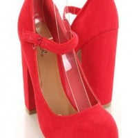 Red Chunky Heel