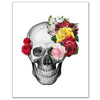 Vintage Skull and Roses ART Print 8 x 10 by RococcoLA on Etsy