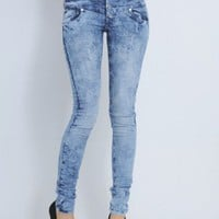Skinny Fit Bleach Effect Jeans